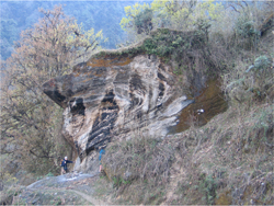 photo of large folded rock in Nepal